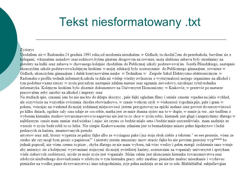 Tekst niesformatowany.txt Życiorys Zyciorys Urodzilem sie w Radomsku 24 grudnia 1991 roku,od urodzenia nieszkalem w Gidlach, tu chodziˆem do przedszko