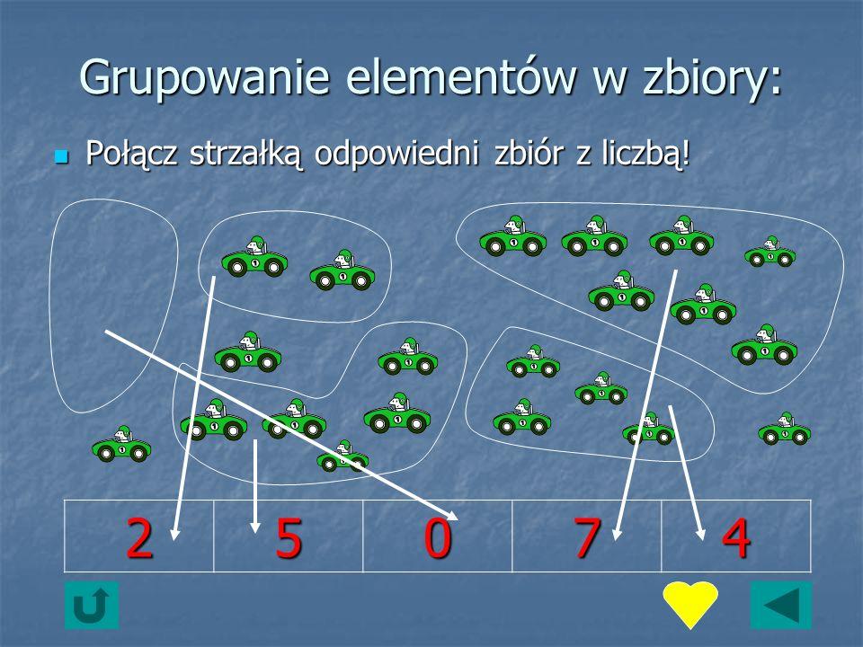 Grupowanie elementów w zbiory: Połącz strzałką odpowiedni zbiór z liczbą.