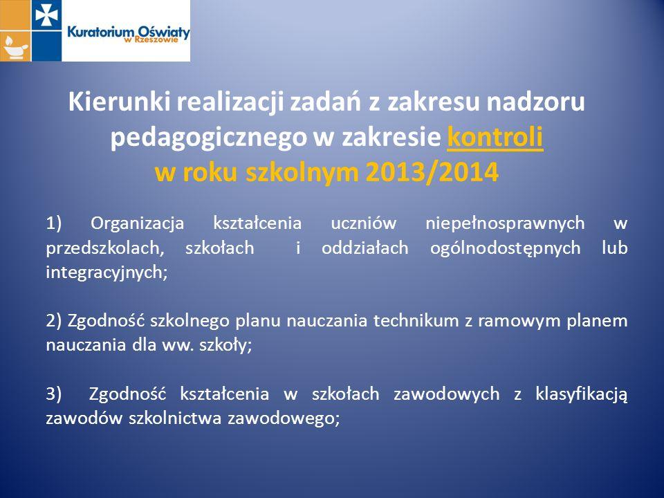 Kierunki realizacji zadań z zakresu nadzoru pedagogicznego w zakresie kontroli w roku szkolnym 2013/2014 1) Organizacja kształcenia uczniów niepełnosp