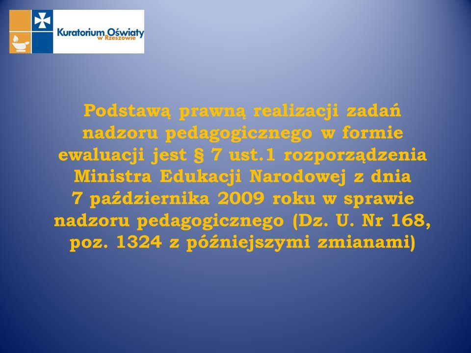 Podstawą prawną realizacji zadań nadzoru pedagogicznego w formie ewaluacji jest § 7 ust.1 rozporządzenia Ministra Edukacji Narodowej z dnia 7 paździer