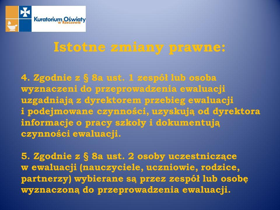 Istotne zmiany prawne: 4. Zgodnie z § 8a ust. 1 zespół lub osoba wyznaczeni do przeprowadzenia ewaluacji uzgadniają z dyrektorem przebieg ewaluacji i