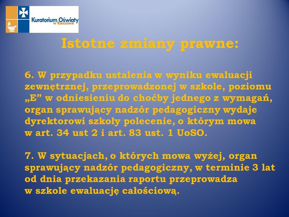 Istotne zmiany prawne: 6. W przypadku ustalenia w wyniku ewaluacji zewnętrznej, przeprowadzonej w szkole, poziomu E w odniesieniu do choćby jednego z