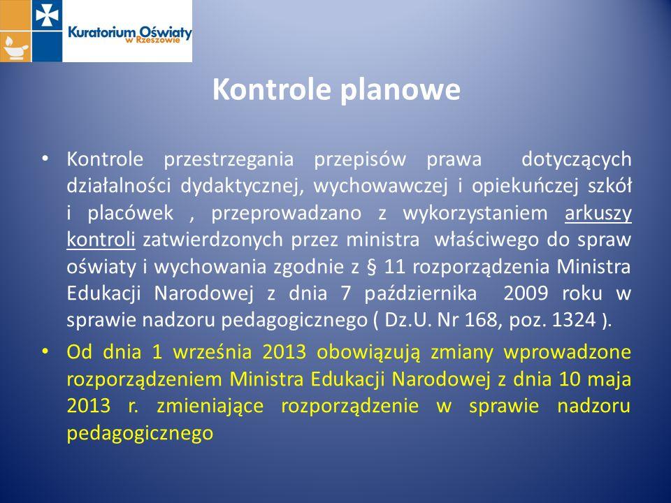 Kontrole planowe Kontrole przestrzegania przepisów prawa dotyczących działalności dydaktycznej, wychowawczej i opiekuńczej szkół i placówek, przeprowa