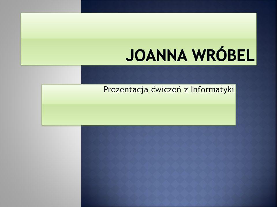 Dzień dobry.Nazywam sie Joanna Wróbel, mieszkam w centrum Krakowa.