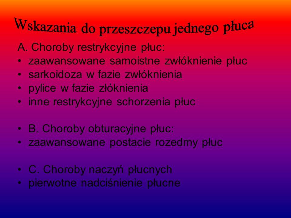 A. Choroby restrykcyjne płuc: zaawansowane samoistne zwłóknienie płuc sarkoidoza w fazie zwłóknienia pylice w fazie złóknienia inne restrykcyjne schor