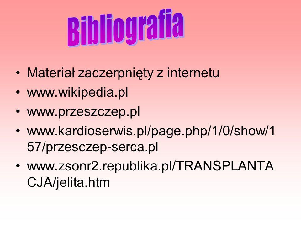 Materiał zaczerpnięty z internetu www.wikipedia.pl www.przeszczep.pl www.kardioserwis.pl/page.php/1/0/show/1 57/przesczep-serca.pl www.zsonr2.republik