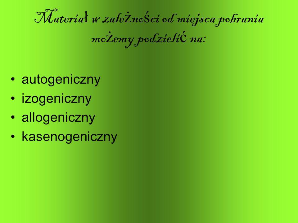 Materia ł w zale ż no ś ci od miejsca pobrania mo ż emy podzieli ć na: autogeniczny izogeniczny allogeniczny kasenogeniczny