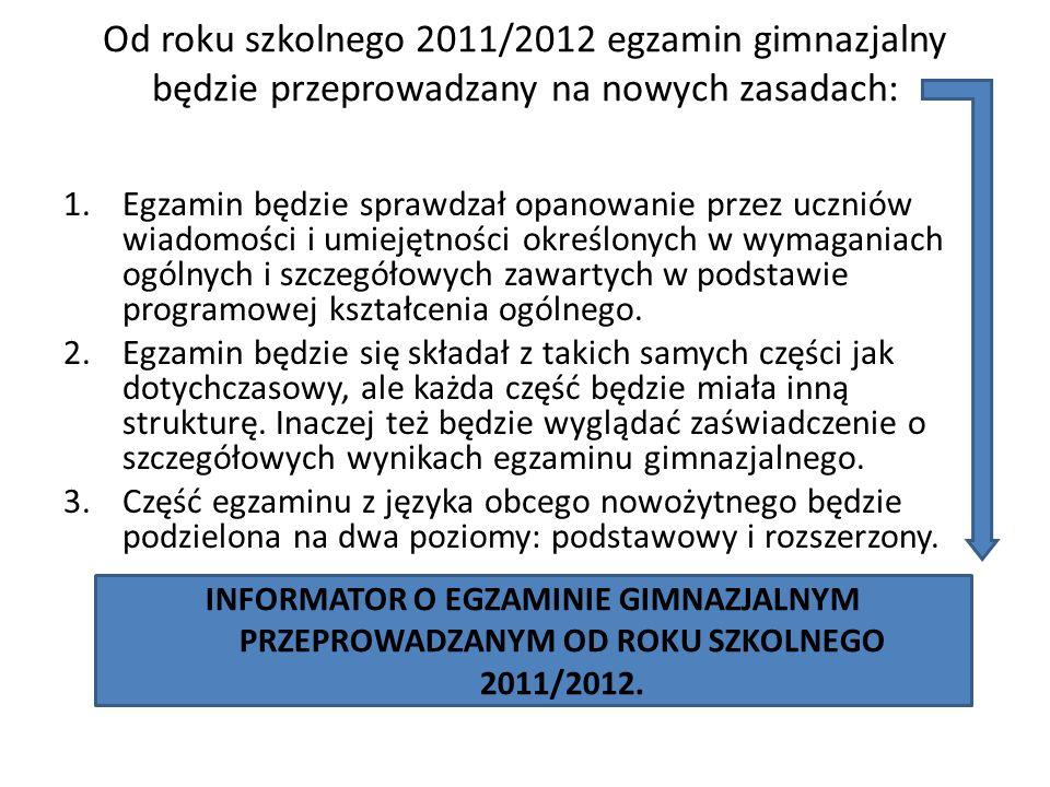 Od roku szkolnego 2011/2012 egzamin gimnazjalny będzie przeprowadzany na nowych zasadach: 1.Egzamin będzie sprawdzał opanowanie przez uczniów wiadomości i umiejętności określonych w wymaganiach ogólnych i szczegółowych zawartych w podstawie programowej kształcenia ogólnego.