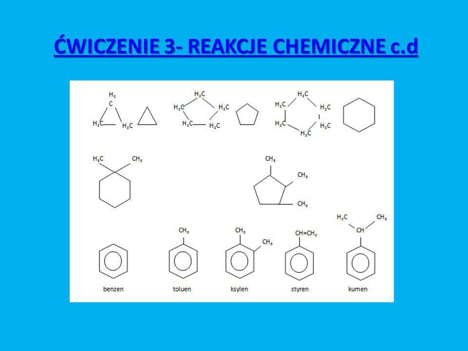 ĆWICZENIE 3- REAKCJE CHEMICZNE c.d ĆWICZENIE 3- REAKCJE CHEMICZNE c.d