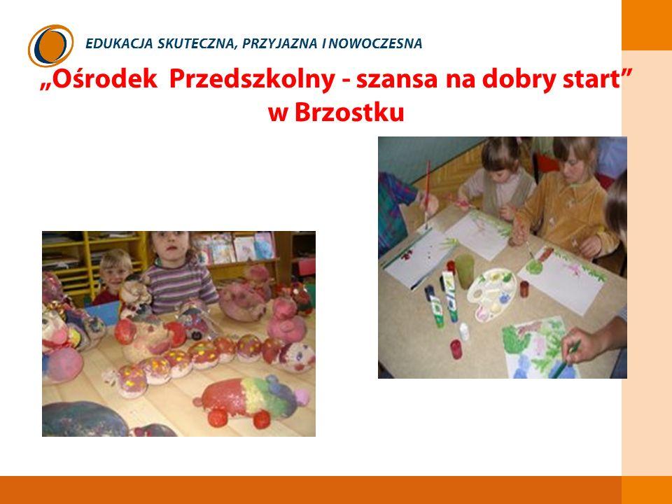 EDUKACJA SKUTECZNA, PRZYJAZNA I NOWOCZESNA Ośrodek Przedszkolny - szansa na dobry start w Brzostku