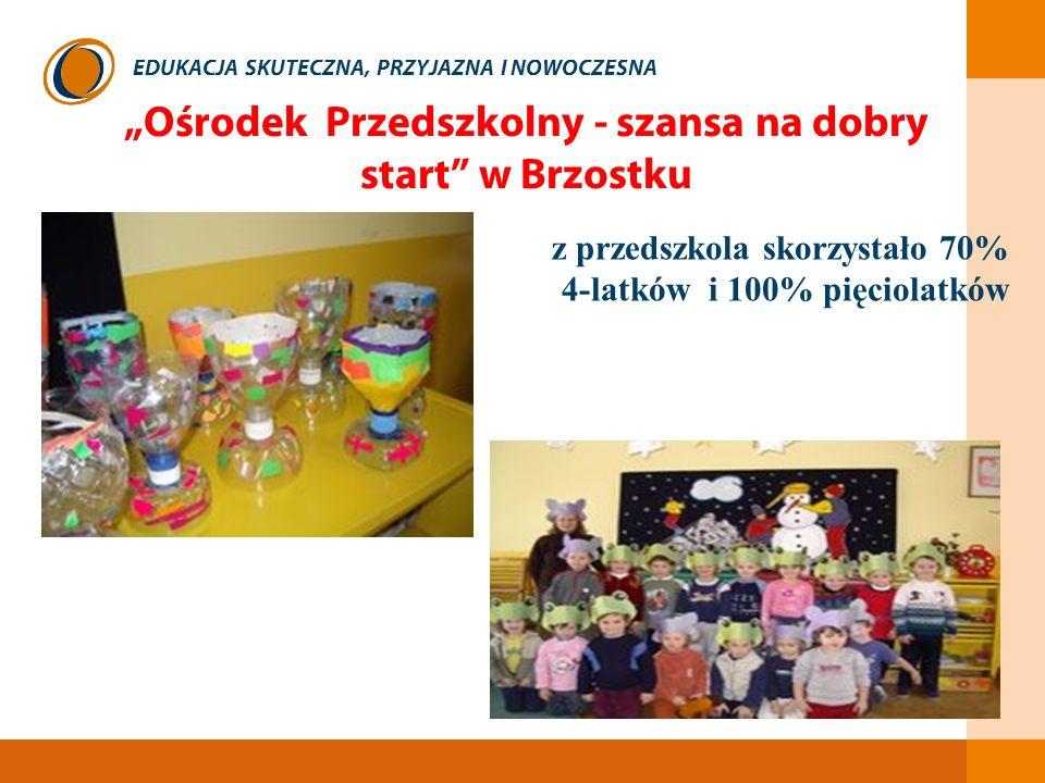 EDUKACJA SKUTECZNA, PRZYJAZNA I NOWOCZESNA Ośrodek Przedszkolny - szansa na dobry start w Brzostku z przedszkola skorzystało 70% 4-latków i 100% pięci