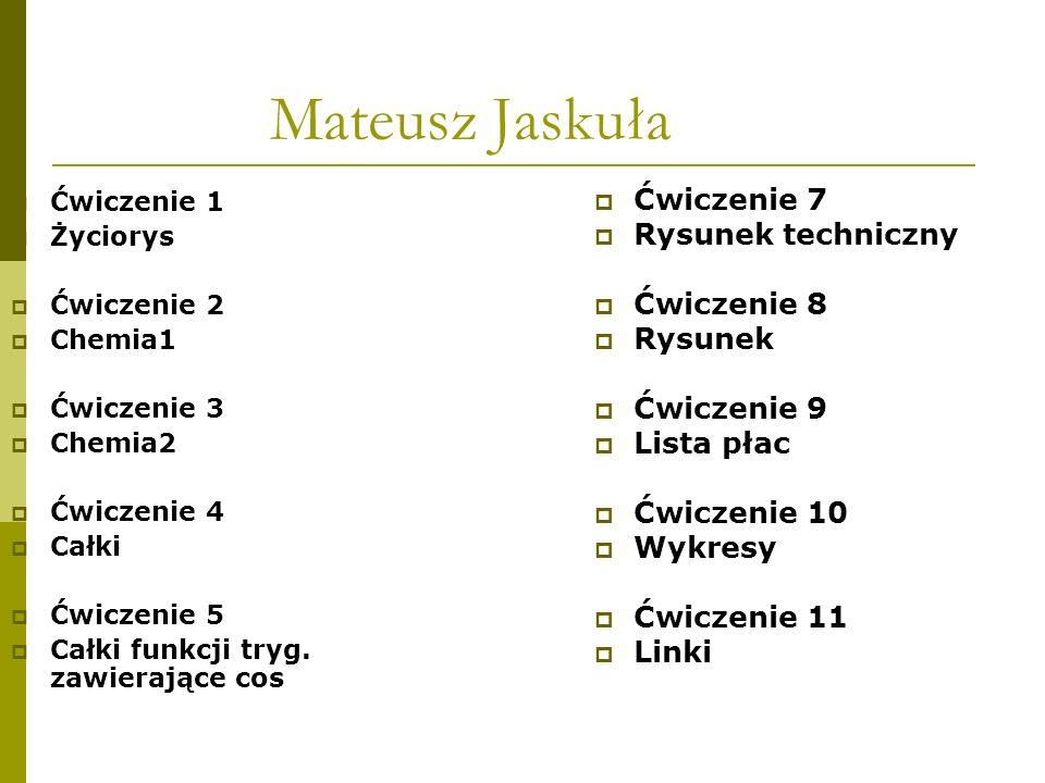 Mateusz Jaskuła Ćwiczenie 1 Życiorys Ćwiczenie 2 Chemia1 Ćwiczenie 3 Chemia2 Ćwiczenie 4 Całki Ćwiczenie 5 Całki funkcji tryg. zawierające cos Ćwiczen