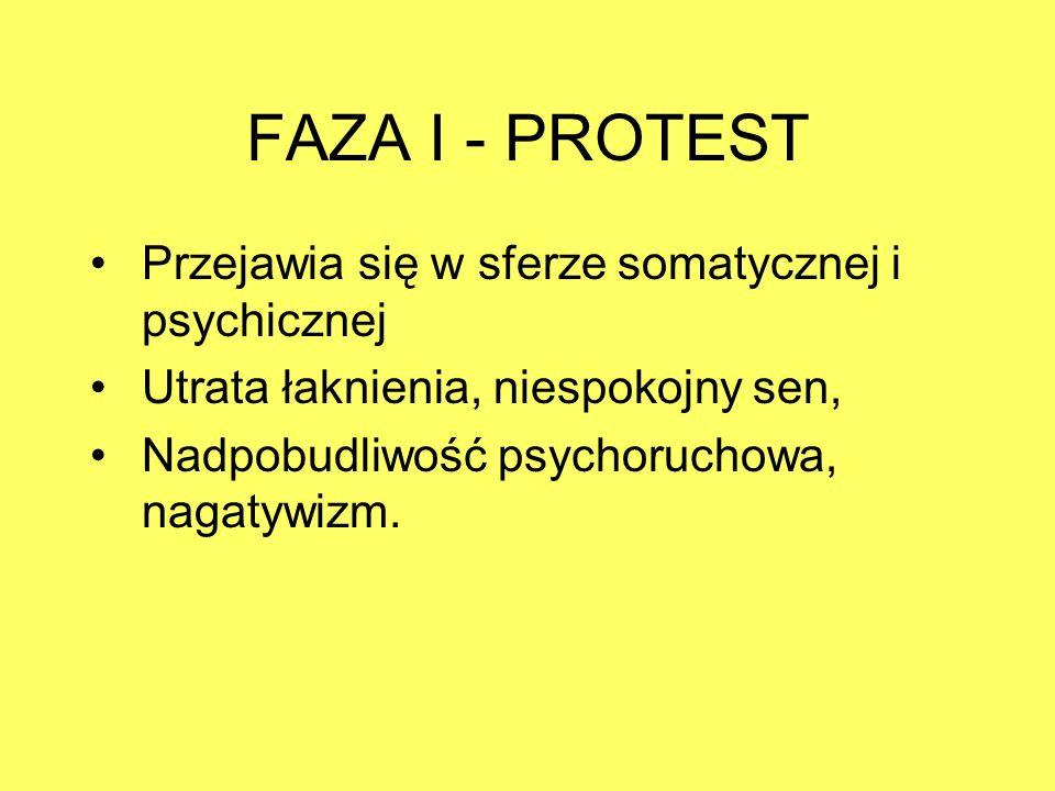 FAZA I - PROTEST Przejawia się w sferze somatycznej i psychicznej Utrata łaknienia, niespokojny sen, Nadpobudliwość psychoruchowa, nagatywizm.
