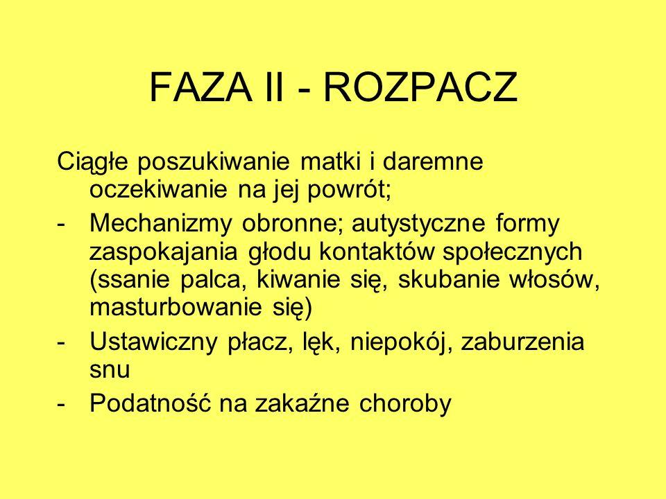 FAZA II - ROZPACZ Ciągłe poszukiwanie matki i daremne oczekiwanie na jej powrót; -Mechanizmy obronne; autystyczne formy zaspokajania głodu kontaktów s
