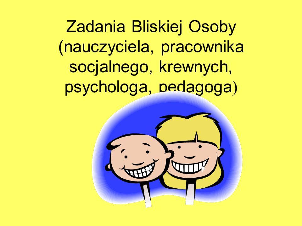 Zadania Bliskiej Osoby (nauczyciela, pracownika socjalnego, krewnych, psychologa, pedagoga )
