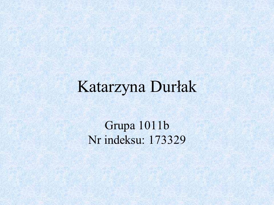 Katarzyna Durłak Grupa 1011b Nr indeksu: 173329