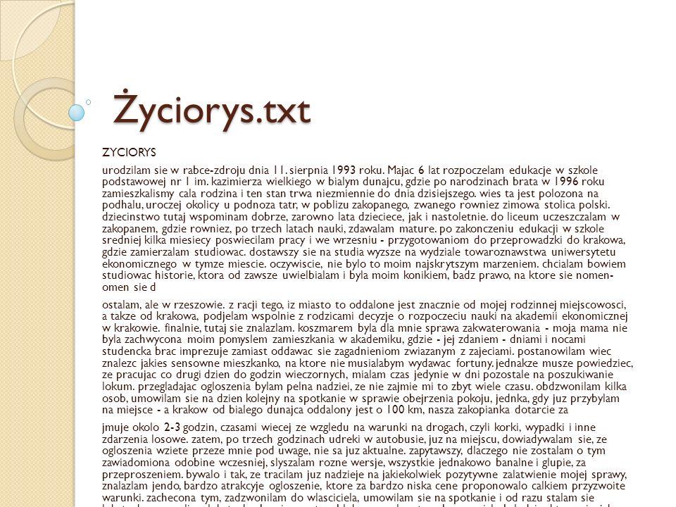 Życiorys.doc ŻYCIORYS Urodziłam się w Rabce-Zdroju dnia 11.