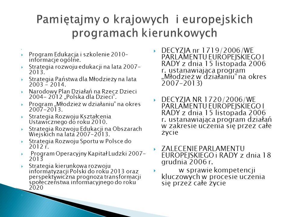 Program Edukacja i szkolenie 2010– informacje ogólne.