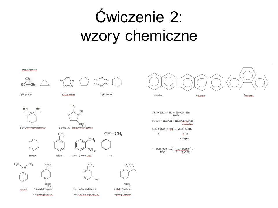 Ćwiczenie 2: wzory chemiczne
