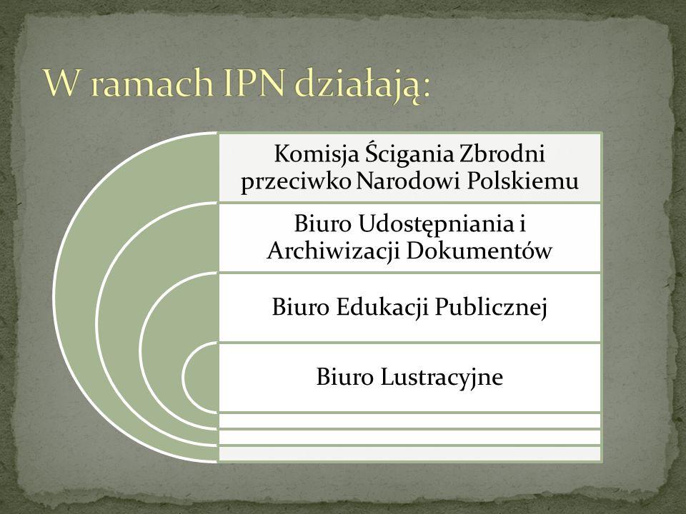 Komisja Ścigania Zbrodni przeciwko Narodowi Polskiemu Biuro Udostępniania i Archiwizacji Dokumentów Biuro Edukacji Publicznej Biuro Lustracyjne