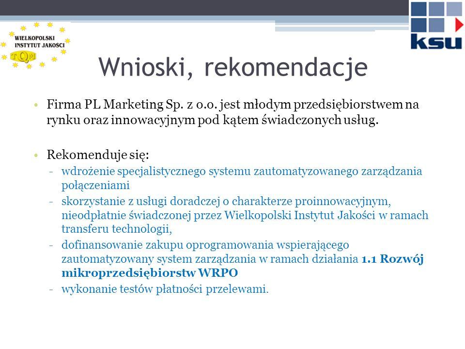 Wnioski, rekomendacje Firma PL Marketing Sp. z o.o. jest młodym przedsiębiorstwem na rynku oraz innowacyjnym pod kątem świadczonych usług. Rekomenduje