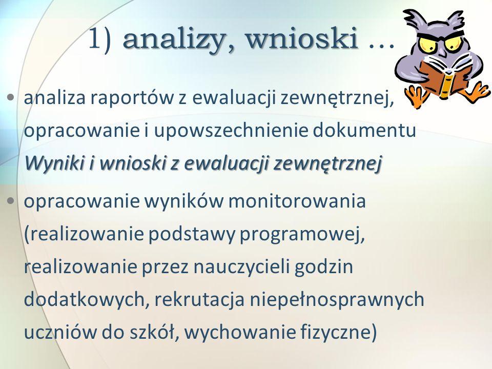 analizy, wnioski 1) analizy, wnioski … Wyniki i wnioski z ewaluacji zewnętrznejanaliza raportów z ewaluacji zewnętrznej, opracowanie i upowszechnienie