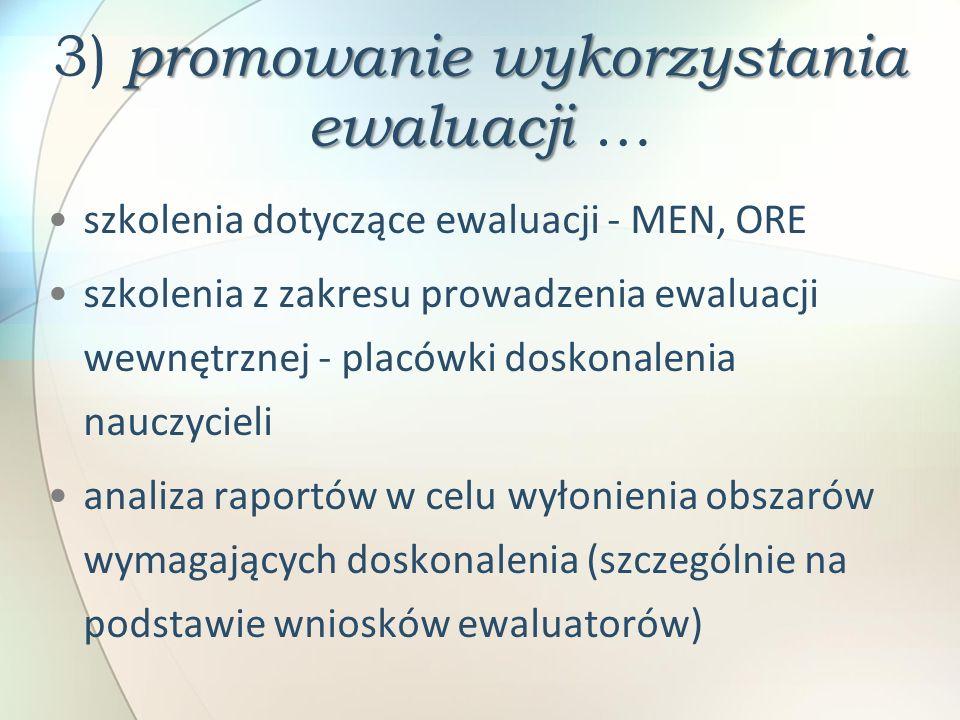 promowanie wykorzystania ewaluacji 3) promowanie wykorzystania ewaluacji … szkolenia dotyczące ewaluacji - MEN, ORE szkolenia z zakresu prowadzenia ew