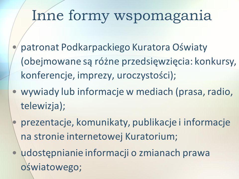 Inne formy wspomagania patronat Podkarpackiego Kuratora Oświaty (obejmowane są różne przedsięwzięcia: konkursy, konferencje, imprezy, uroczystości); w