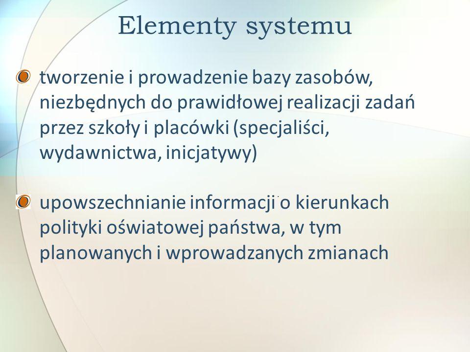 Elementy systemu. tworzenie i prowadzenie bazy zasobów, niezbędnych do prawidłowej realizacji zadań przez szkoły i placówki (specjaliści, wydawnictwa,