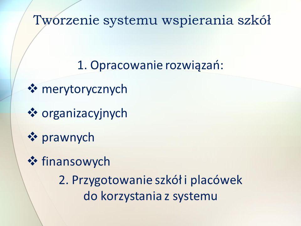 1. Opracowanie rozwiązań: merytorycznych organizacyjnych prawnych finansowych 2. Przygotowanie szkół i placówek do korzystania z systemu Tworzenie sys