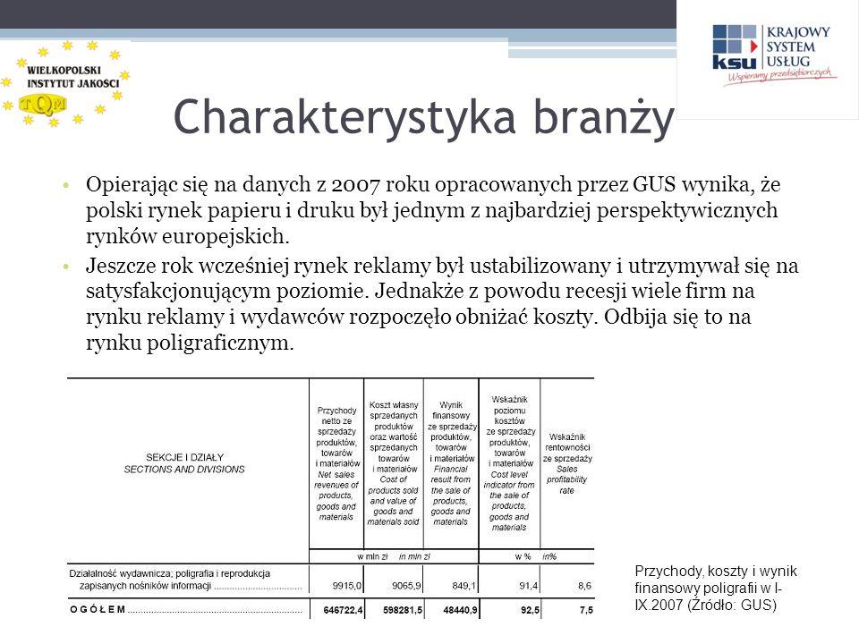 Charakterystyka branży Opierając się na danych z 2007 roku opracowanych przez GUS wynika, że polski rynek papieru i druku był jednym z najbardziej per