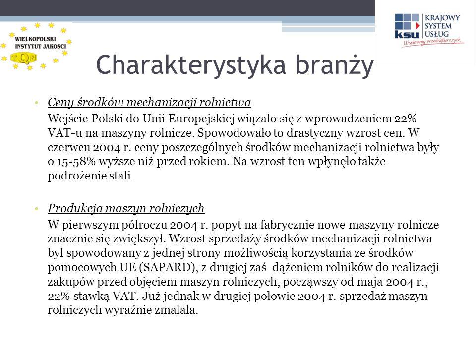 Charakterystyka branży Ceny środków mechanizacji rolnictwa Wejście Polski do Unii Europejskiej wiązało się z wprowadzeniem 22% VAT-u na maszyny rolnic