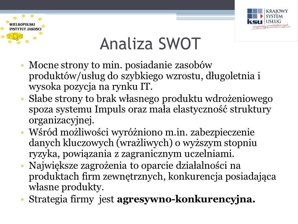 Analiza SWOT Mocne strony to min. posiadanie zasobów produktów/usług do szybkiego wzrostu, długoletnia i wysoka pozycja na rynku IT. Słabe strony to b