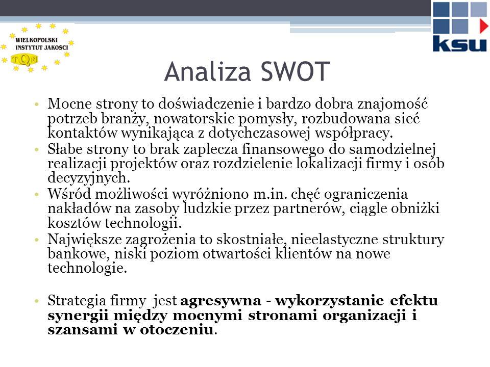 Analiza SWOT Mocne strony to doświadczenie i bardzo dobra znajomość potrzeb branży, nowatorskie pomysły, rozbudowana sieć kontaktów wynikająca z dotyc