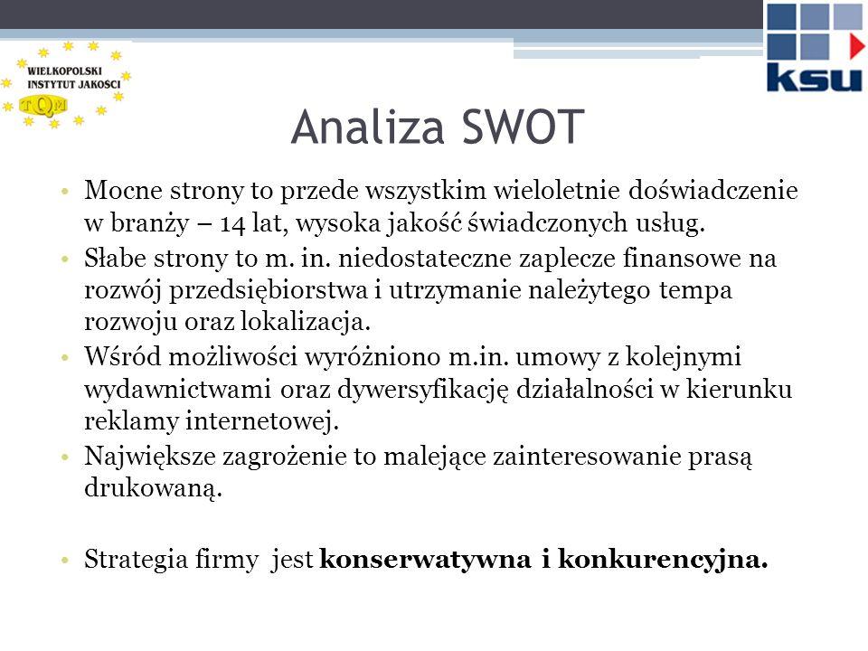 Analiza SWOT Mocne strony to przede wszystkim wieloletnie doświadczenie w branży – 14 lat, wysoka jakość świadczonych usług. Słabe strony to m. in. ni