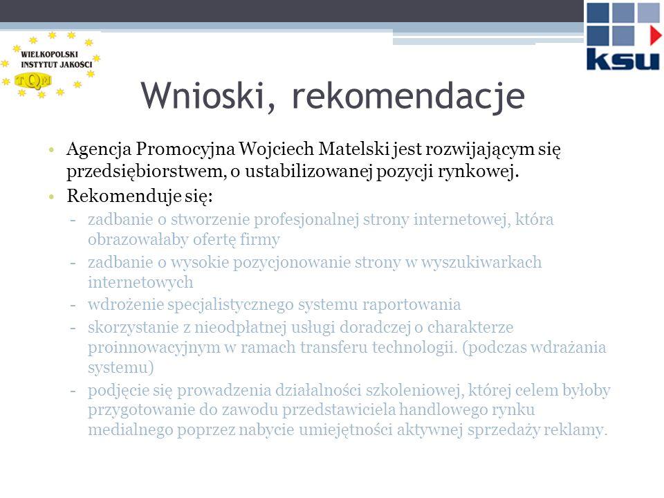 Wnioski, rekomendacje Agencja Promocyjna Wojciech Matelski jest rozwijającym się przedsiębiorstwem, o ustabilizowanej pozycji rynkowej. Rekomenduje si