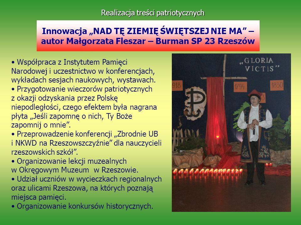 Innowacja NAD TĘ ZIEMIĘ ŚWIĘTSZEJ NIE MA – autor Małgorzata Fleszar – Burman SP 23 Rzeszów Realizacja treści patriotycznych Współpraca z Instytutem Pa