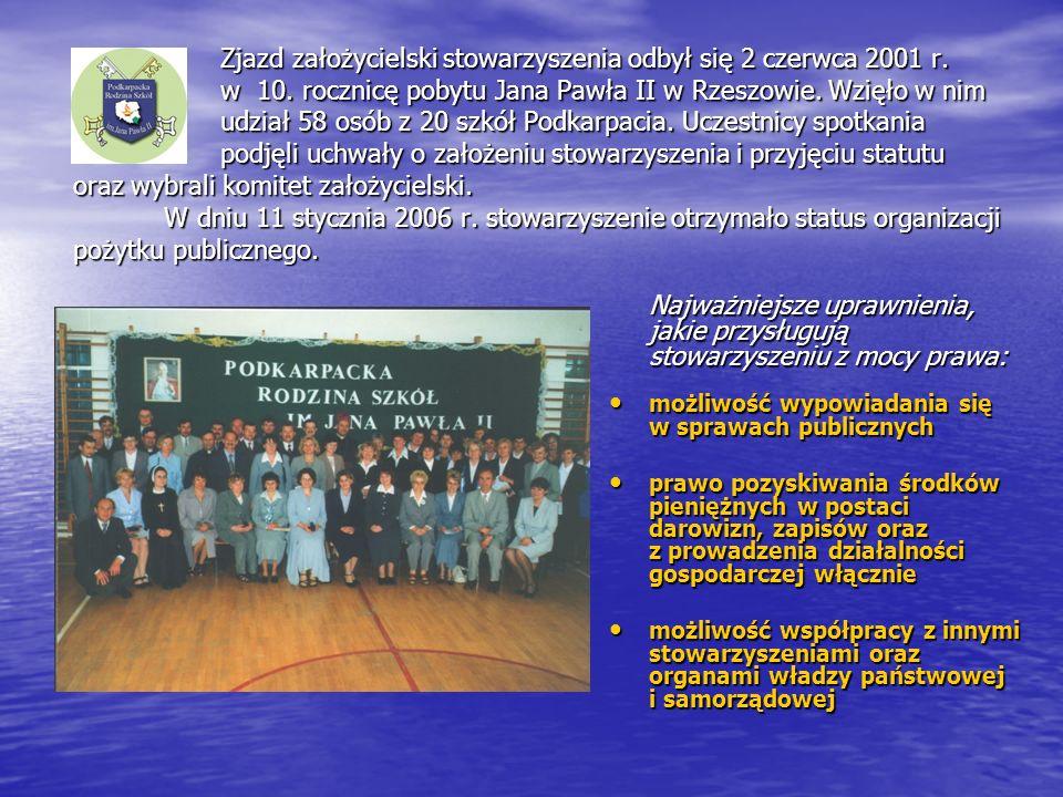 Zjazd założycielski stowarzyszenia odbył się 2 czerwca 2001 r. w 10. rocznicę pobytu Jana Pawła II w Rzeszowie. Wzięło w nim udział 58 osób z 20 szkół