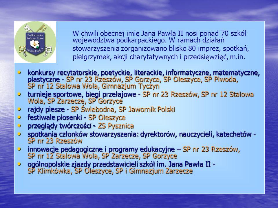 W chwili obecnej imię Jana Pawła II nosi ponad 70 szkół województwa podkarpackiego. W ramach działań stowarzyszenia zorganizowano blisko 80 imprez, sp