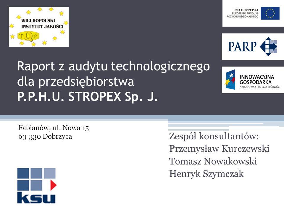 Raport z audytu technologicznego dla przedsiębiorstwa P.P.H.U. STROPEX Sp. J. Zespół konsultantów: Przemysław Kurczewski Tomasz Nowakowski Henryk Szym