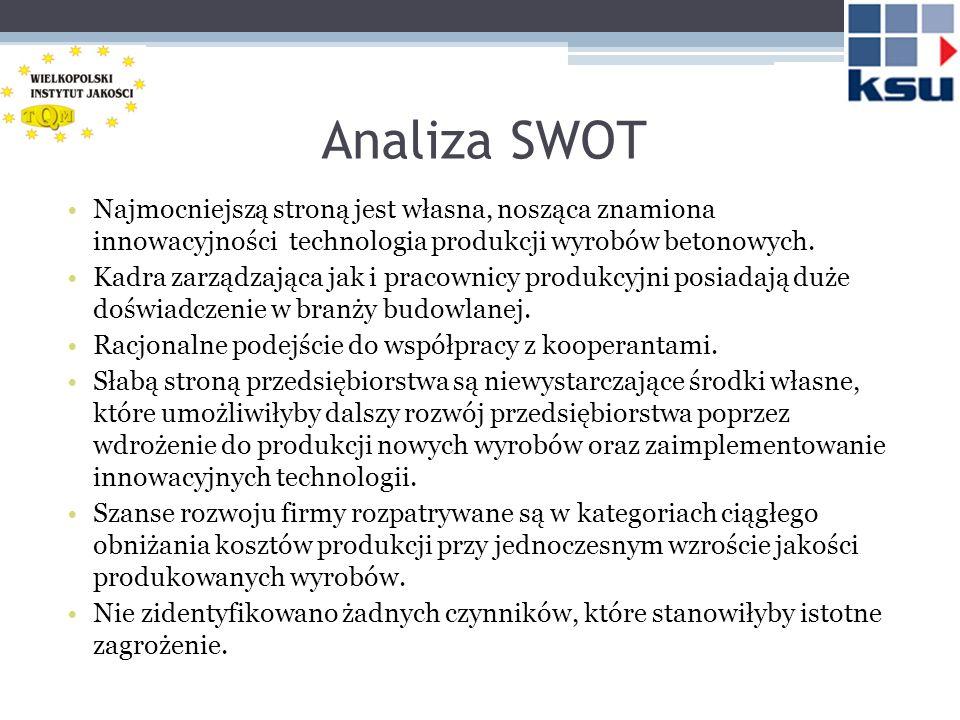 Analiza SWOT Najmocniejszą stroną jest własna, nosząca znamiona innowacyjności technologia produkcji wyrobów betonowych. Kadra zarządzająca jak i prac