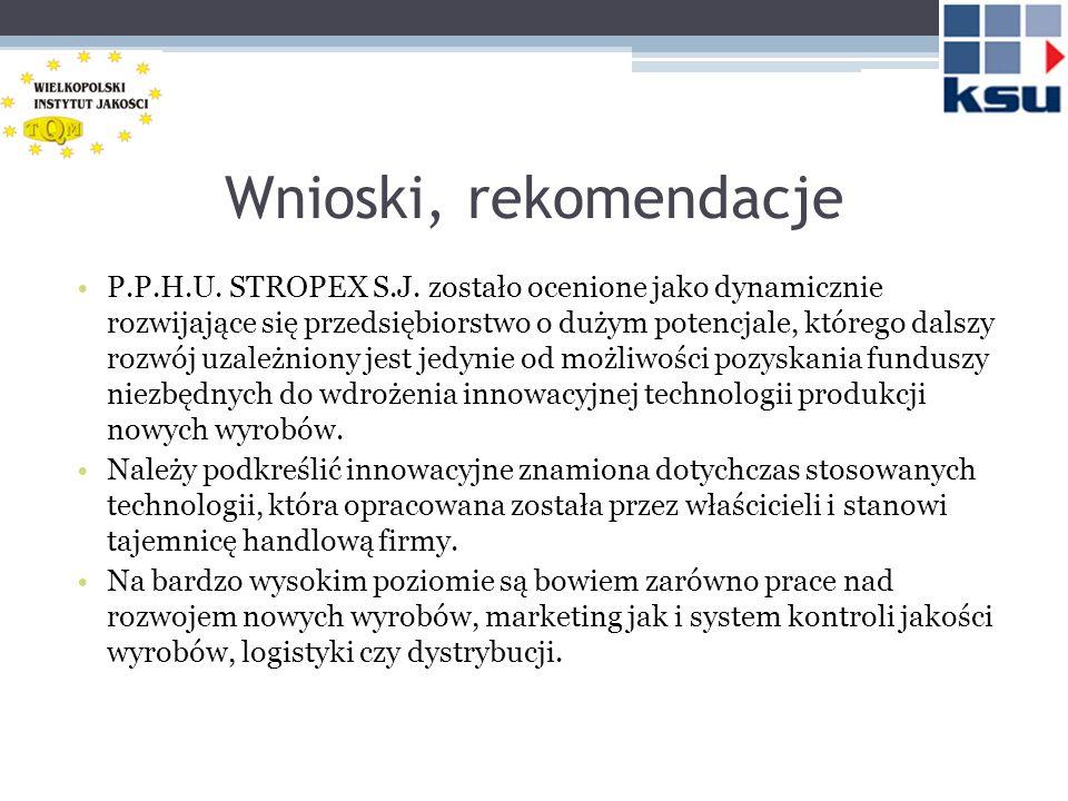 Wnioski, rekomendacje P.P.H.U. STROPEX S.J. zostało ocenione jako dynamicznie rozwijające się przedsiębiorstwo o dużym potencjale, którego dalszy rozw
