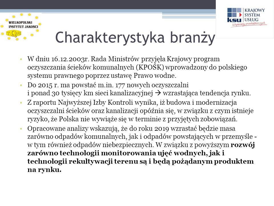 Charakterystyka branży W dniu 16.12.2003r. Rada Ministrów przyjęła Krajowy program oczyszczania ścieków komunalnych (KPOŚK) wprowadzony do polskiego s