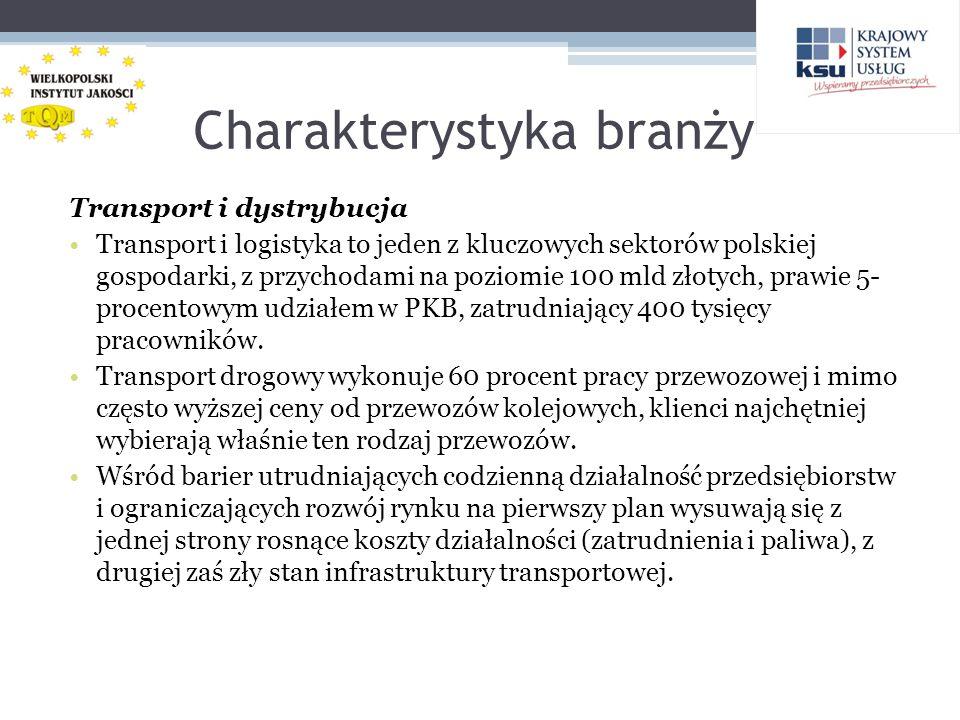 Charakterystyka branży Transport i dystrybucja Transport i logistyka to jeden z kluczowych sektorów polskiej gospodarki, z przychodami na poziomie 100