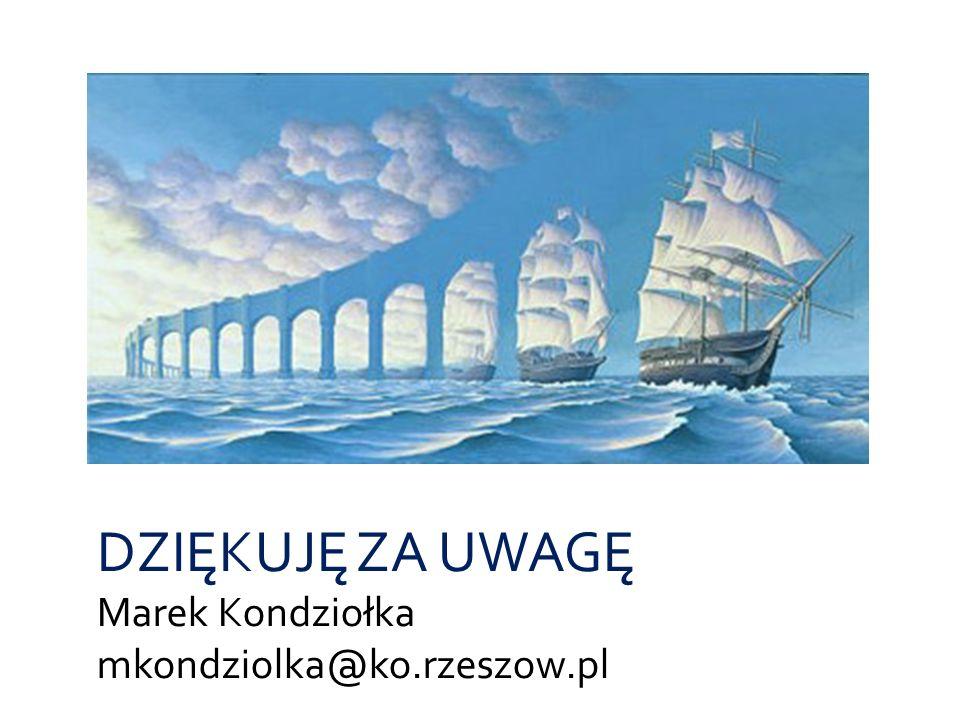 DZIĘKUJĘ ZA UWAGĘ Marek Kondziołka mkondziolka@ko.rzeszow.pl