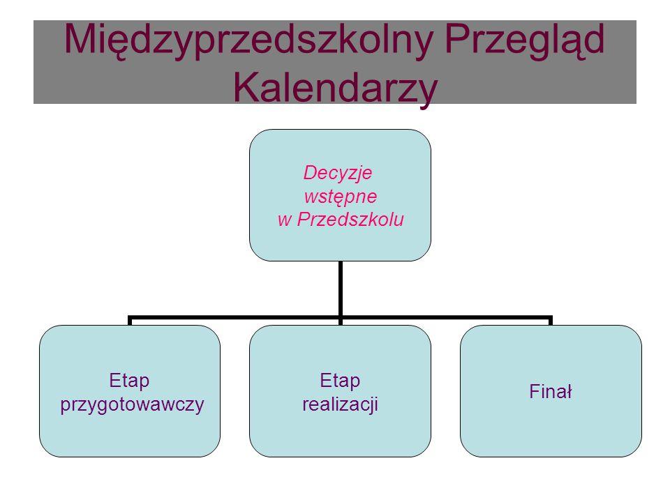 Międzyprzedszkolny Przegląd Kalendarzy Decyzje wstępne w Przedszkolu Etap przygotowawczy Etap realizacji Finał