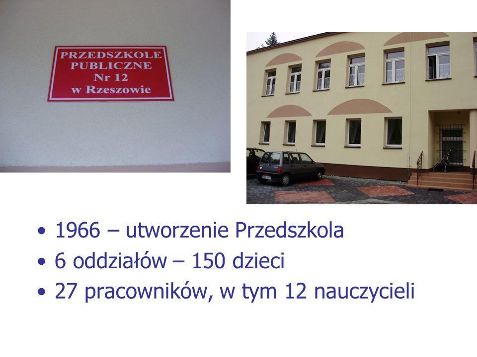 1966 – utworzenie Przedszkola 6 oddziałów – 150 dzieci 27 pracowników, w tym 12 nauczycieli