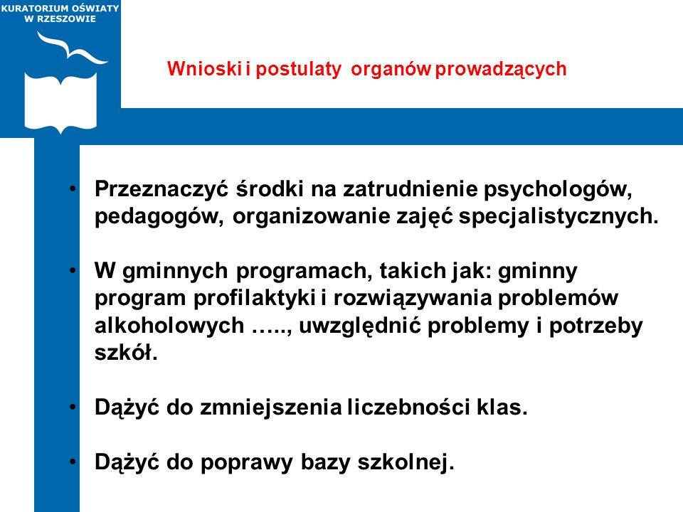 Wnioski i postulaty organów prowadzących Przeznaczyć środki na zatrudnienie psychologów, pedagogów, organizowanie zajęć specjalistycznych. W gminnych