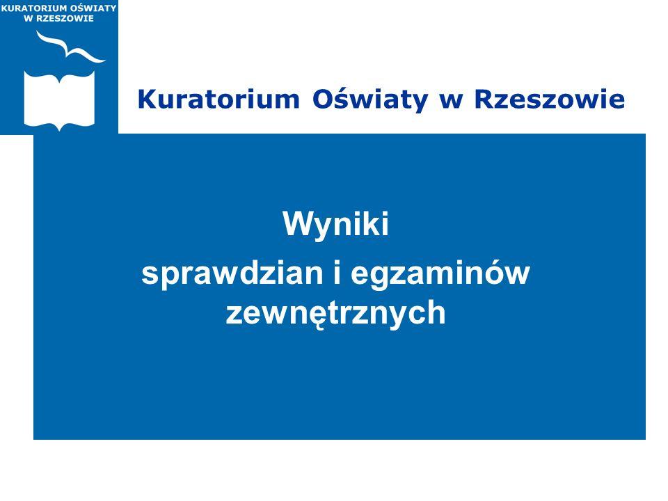 Kuratorium Oświaty w Rzeszowie Wyniki sprawdzian i egzaminów zewnętrznych