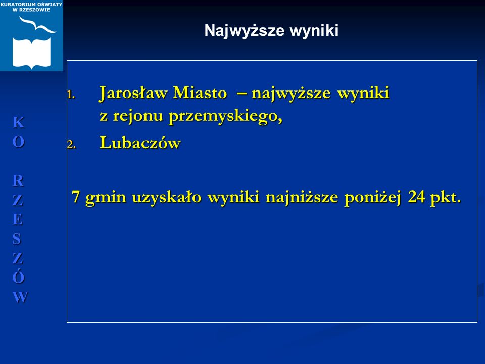KORZESZÓWKORZESZÓWKORZESZÓWKORZESZÓW 1. Jarosław Miasto – najwyższe wyniki z rejonu przemyskiego, 2. Lubaczów 7 gmin uzyskało wyniki najniższe poniżej